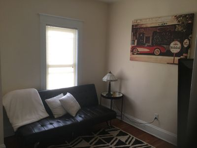 Comfy first floor TV room, nicely appointed with futon bed that sleeps 2