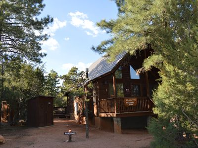 Photo for Cozy A-frame cabin in tall pine forest