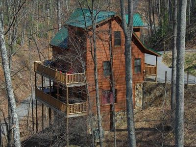Photo for Private Wooded Setting! Theater Room! Centrally Located! 3 Decks! Fun Game Room