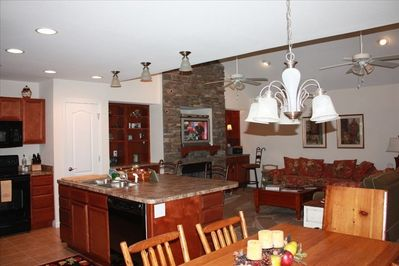 Dining Area, Island with Bar Stools, Partial view of Kitchen