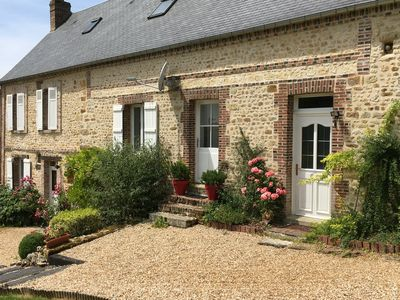 Photo for Large elegant 5 bedroom 18th c restored stone home, picturesque Normandy