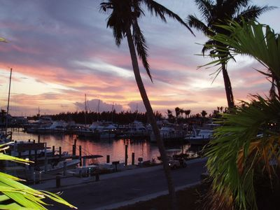 Beautiful sunset viewed from your front deck, overlooking the marina.
