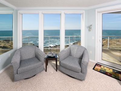 Photo for JULY RATES! Oceanfront Crashing Waves, Fireplace, Full Kitchen & All New Décor