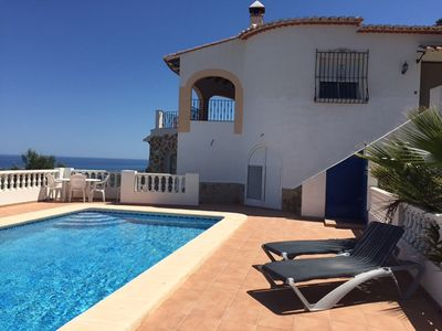 Pool terrace looking out to sea