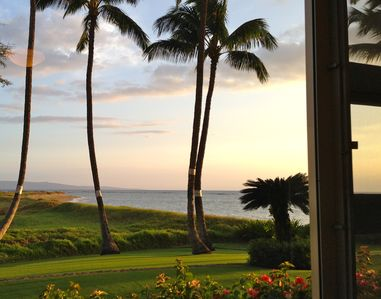 Oceanfront photo from master bedroom. Nice to have a sunset ocean view from bed.