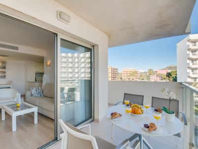 Photo for Mod. Apartment in Cala Millor, directly on the sea, free WIFI, up to 4 pers.