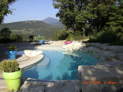 Photo for Between Mont-Ventoux and the Dentelles de Montmirail, swimming pool