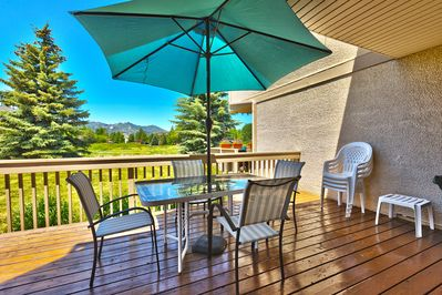 Lovely mountain view on your deck. Seating for 8, gas grill