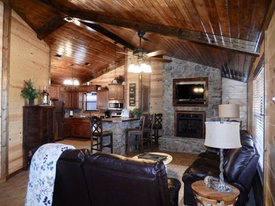 Photo for Hilltop Getaway: Luxury Cabin on 3 acres near Broken Bow - 10 Kayaks included!