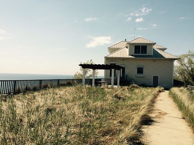 Photo for Panoramic Lake Michigan home and Private Beach.