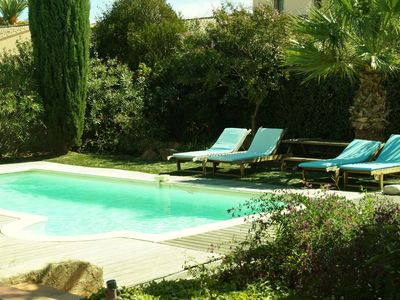 Photo for NEW! Villa ground floor, beautiful garden very quiet, private heated pool