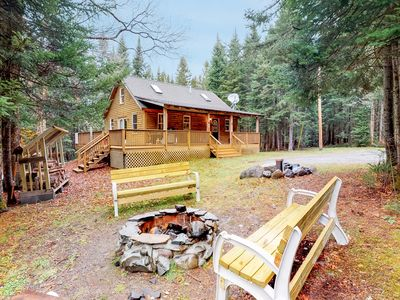 Photo for Peaceful, dog-friendly cabin w/ large yard, deck, & firepit - close to the lake