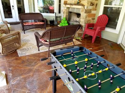 Recreation on the poolside patio