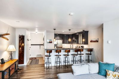 Newly Renovated, This home features new appliances, electronics and furniture. The appliances include a French-door fridge, stove, microwave,