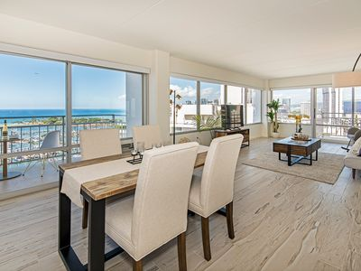 Photo for Rarely Available Sweeping Ocean View 2 BDR Ilikai Condo w/ Tons of Amenities!