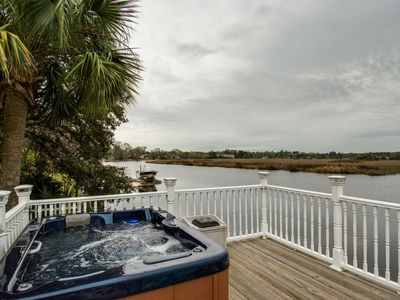 Photo for Beautiful Waterfront Oasis, Indoor and Outdoor Hot Tubs, Large Porch, Grill, W/D