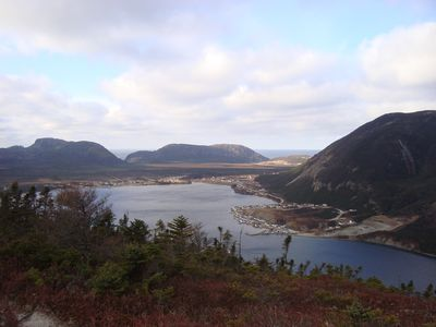 Looking down onto Lark Harbour from the provincial park lookout.