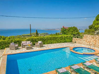 Photo for Hillside villa with great sea views, 5 minutes drive from two of the  best beaches and 30 minute walk to Argostoli, the capital with plenty to explore.