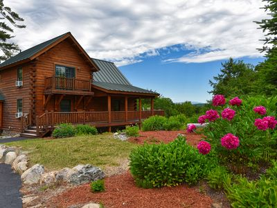 Photo for Spacious Log Cabin w/ 6 Person Hot Tub, Screened Porch & Wraparound Deck