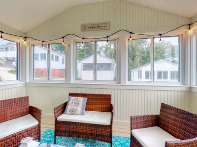 Photo for New listing! Enjoy a 3-season porch & shared pool - steps to dining, near beach!
