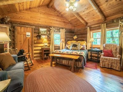 Photo for Authentic cabin made from 150 year old logs.  Queen/Kitchenette