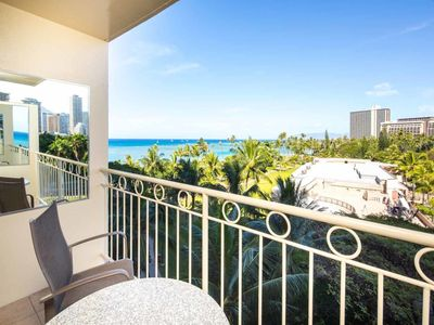 Photo for Tropical Studio w/Ocean View, Free WiFi, Modern Kitchenette –Waikiki Shore 615