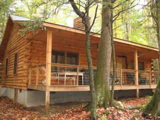 This is one cozy log cabin located near Black Mtn. Campground.
