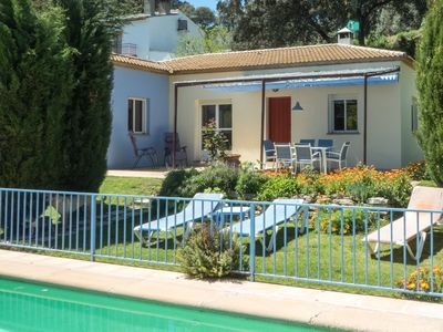 Photo for Lovely 3 bedroom cottage in quiet valley, organic gardens, private fenced pool