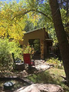 Its all about relaxing up here!  This patio sits right above the creek.