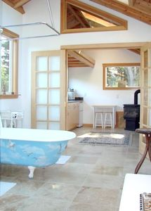 Inside Bathroom and Kitchen