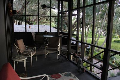 Tree House porch which has a nice view of the River