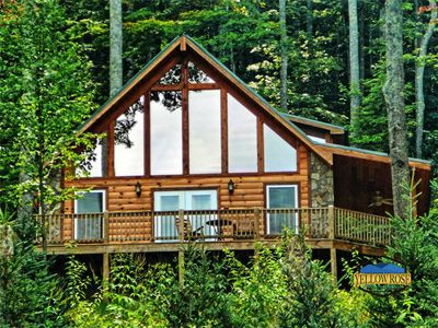 Photo for Spacious A-frame with wrap-around deck and hot tub overlooking the beautiful
