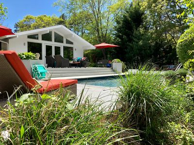Beautiful backyard with sunny deck & lots of places to lounge.