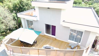 Photo for house with above ground wooden pool, large terrace + garden for 8 people max