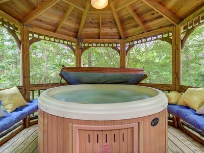 Photo for Spacious cabin w/ a hot tub, dry sauna, firepit, & two fireplaces - dogs OK!