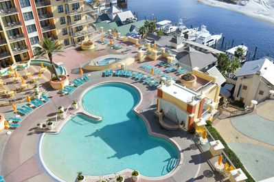 Balcony View- Overlooks the pool, Destin Harbor, & the Gulf of Mexico!