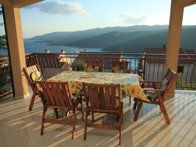 Photo for Two bedroom apartment with terrace and sea view Rabac, Labin (A-7442-a)