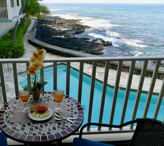 Photo for Absolutely Oceanfront, yet convenient tropical Kona condo home