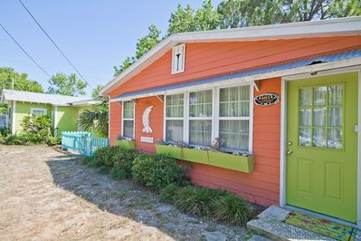 Front exterior of The Shrimp Cottage.  This cottage is located next door to Key Lime Parrot; renting both would be perfect for large families or groups!  ****Click on the Media Tab for this property to view a great interactive floor plan and photo file!****