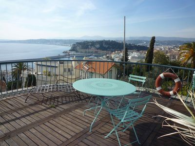 Photo for Penthouse with wonderfull sea view between Nice and Viilefranche