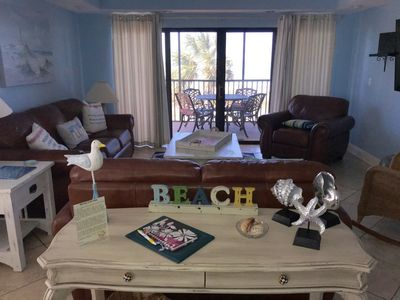 View of the family room with ocean view.