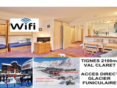 Photo for TIGNES VAL CLARET 2100m 4 / 5pers DIRECT ACCESS FUNCULAR GLACIER SKIS TO THE FEET