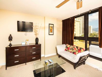 Photo for Stay in Style! Chic Kitchenette, Flat Screen, WiFi, AC, Dining Bar–Waikiki Grand 619