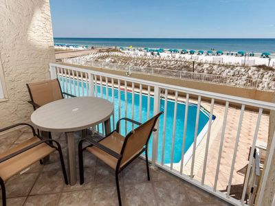 Photo for Cozy Gulf Front Unit, 2 Beach Chairs Included, Short Distance To Entertainment