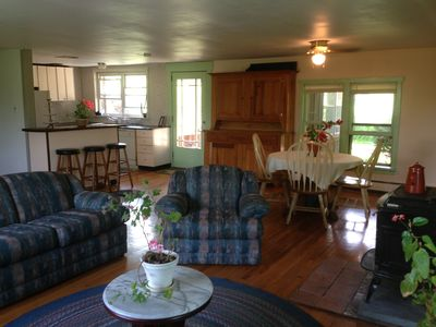 Living room, dining area and kitchen