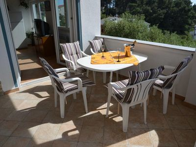 Photo for Two bedroom apartment with terrace and sea view Rab (A-14792-e)