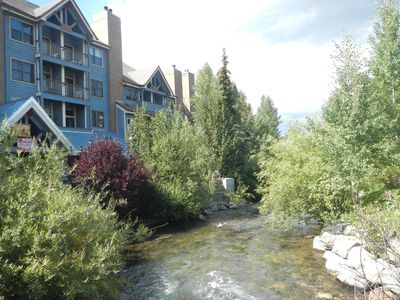 Photo for On the River & Mountain Views!  Easy Walk Around Breck! Free Garage Parking!