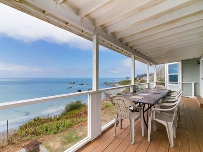 Photo for Gorgeous, oceanfront estate w/ views &  hot tub - beach right down the stairs