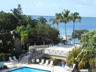 SHOWN HERE  Direct Waterfront-Pool-Sundeck View from our Extra Large Balcony