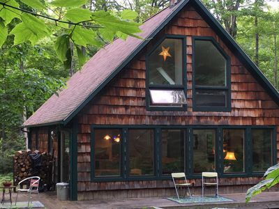 Photo for Beaver Island Chalet 2BR, 2BA sleeps 5+, big windows overlooking lovely woods.